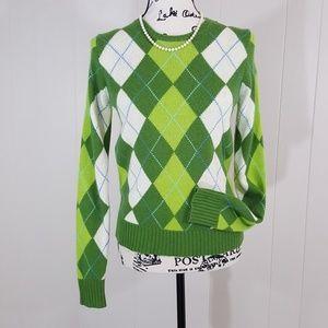 J.Crew GUC green argyle wool blend sweater S